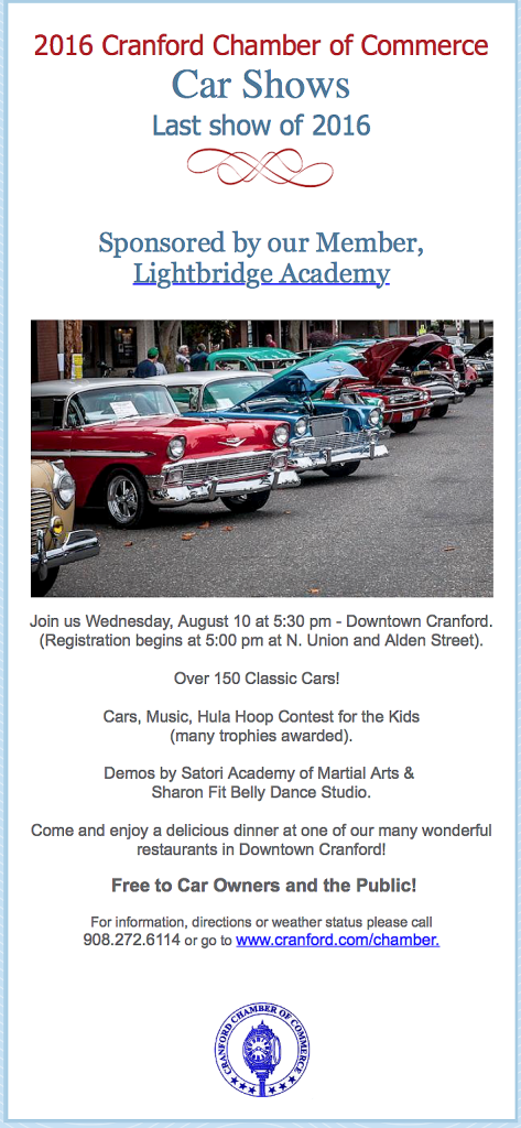 Cranford Chamber of Commerce Last Car Show of 2016 @ Downtown Cranford