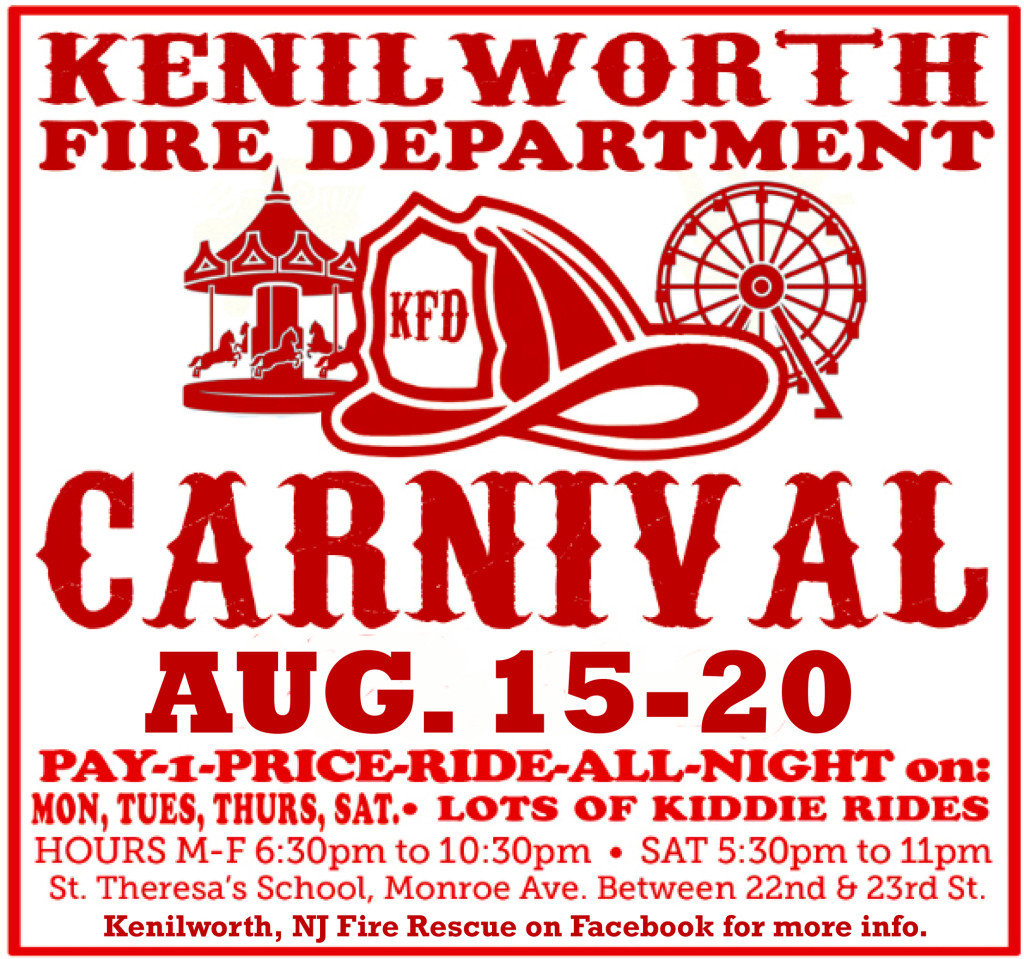 Kenilworth Fire Department Carnival @ ST. THERESA SCHOOL, Monroe Ave. Between 22nd & 23rd St.