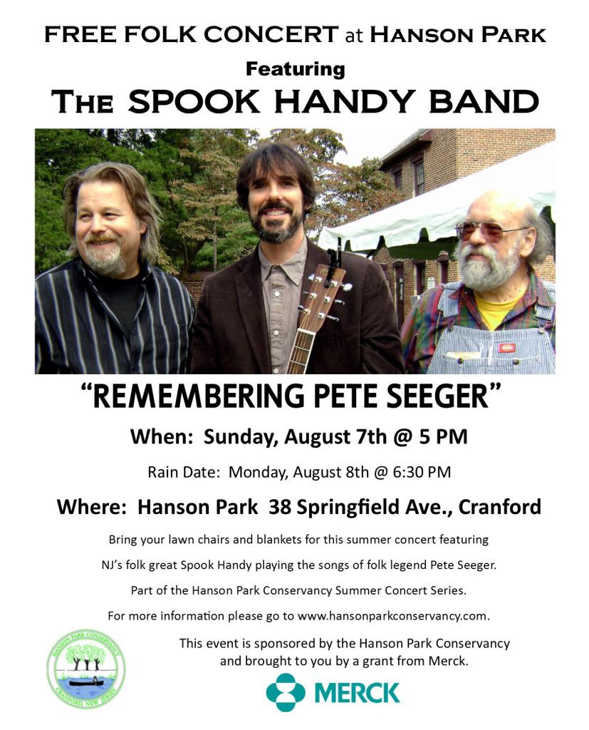 Cranford Free Folk Concert - The Spook Handy Band @ Hanson Park 38 Springfield Avenue, Cranford