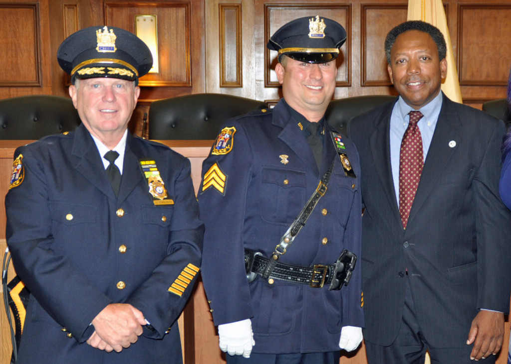 (above l-r) Chief James M. Schulhafer, Sergeant William Bizub, and Mayor Derek Armstead.