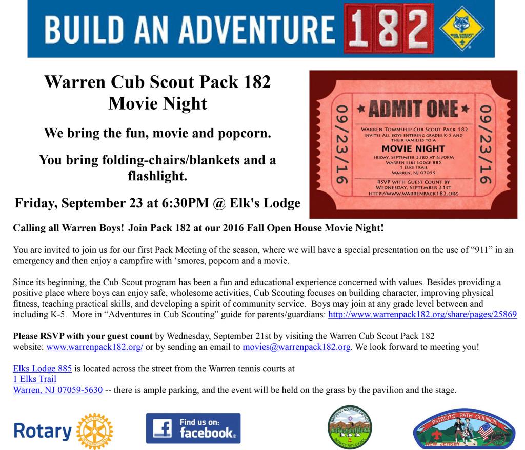 Warren Cub Scout Pack 182 Movie Night @ Elk's Lodge