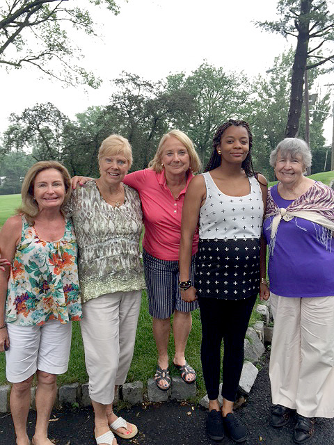 (above) Ty, a former Raphael's mom who shared her experience at last year's Golf Tournament dinner, is pictured with Cranford residents and golf committee members (l - r): Donna Maginelli, Barbara Bilger, Ann Beams, (Ty) , and co-founder of Raphael's Life House, Edie Coogan.