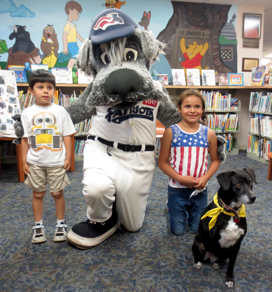 (above) Children visited with Tracy, the unofficial mascot of the Kenilworth Public Library, and Sparkee the mascot of The Somerset Patriots.