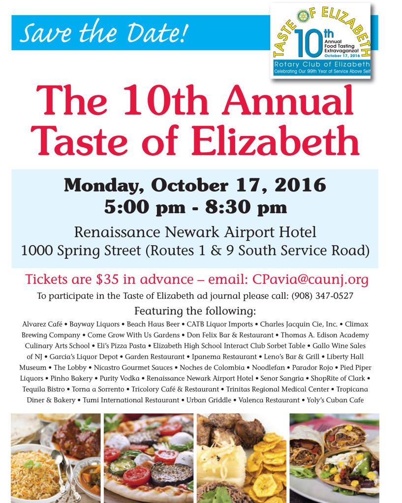 "Elizabeth Rotary Sets Tenth Annual ""Taste of Elizabeth"" Monday, October 17th @ Renaissance Hotel | Elizabeth | New Jersey | United States"