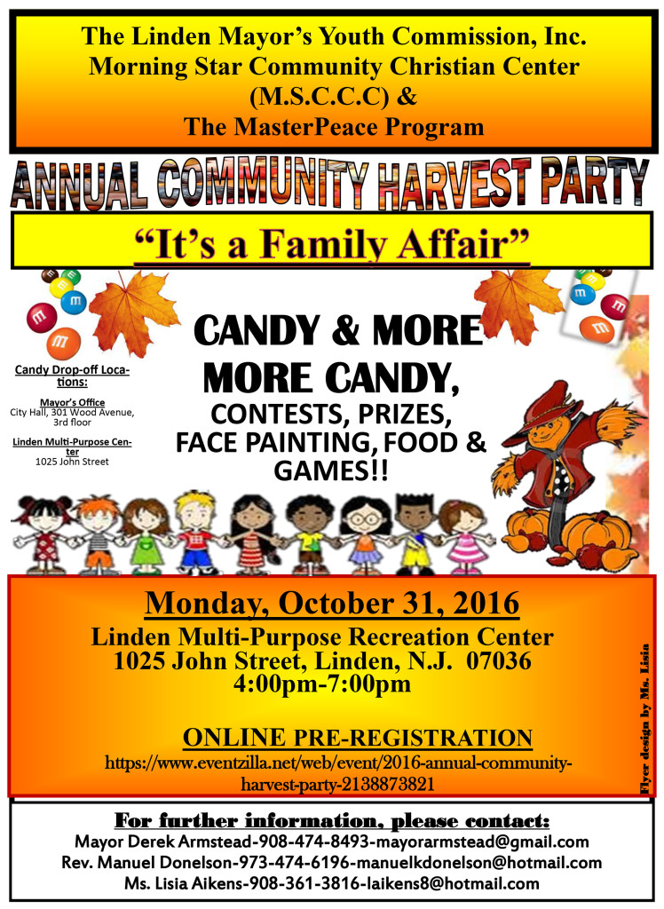 Linden Annual Community Harvest Party @ Linden Multi-Purpose Recreation Center | Linden | New Jersey | United States