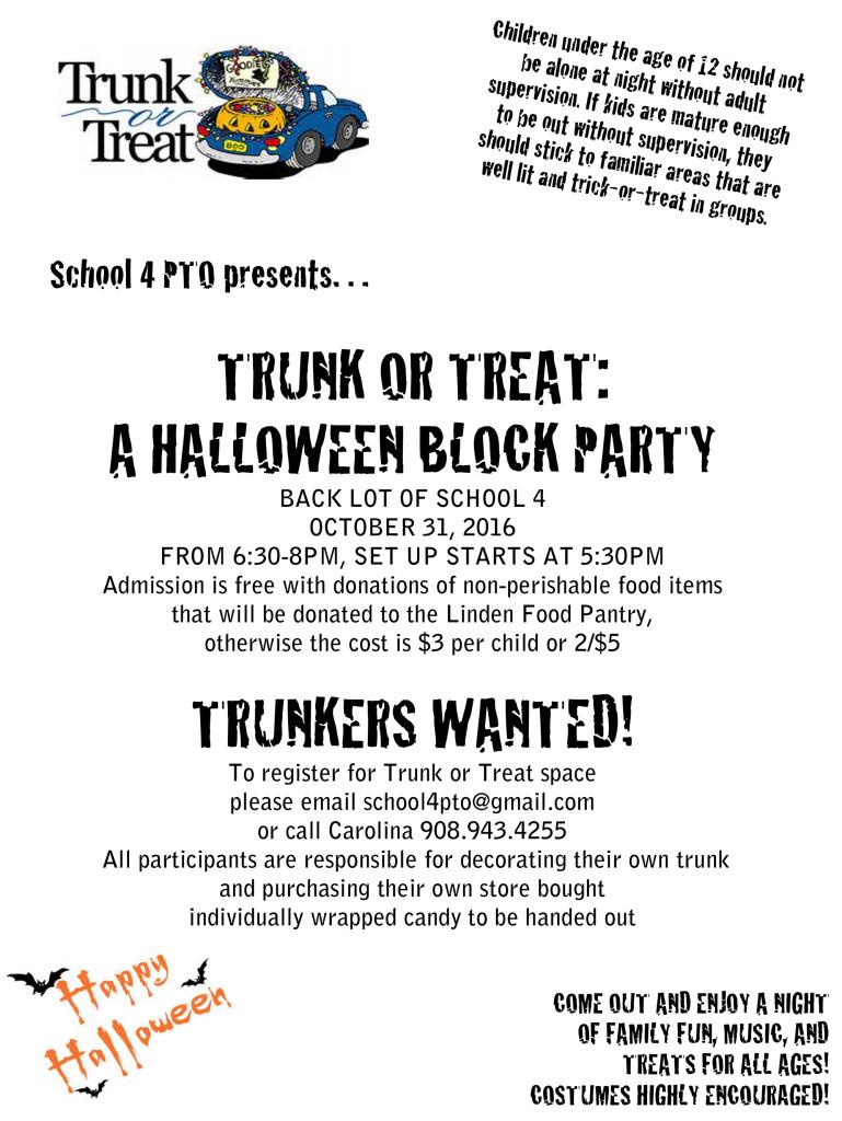 Linden Trunk or Treat Halloween Block Party @ BACK LOT OF SCHOOL 4