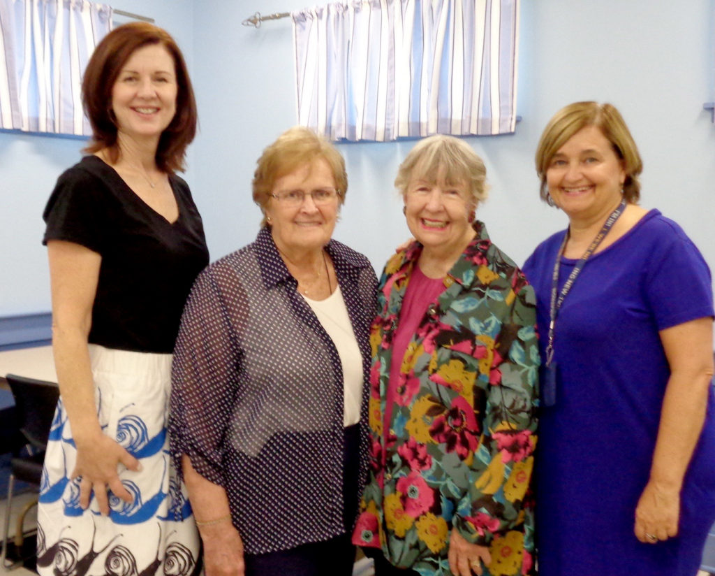 (above l-r) Lori Rudzich,Raphael's Life House Volunteer Coordinator, Jean Murphy, Woman's Club of Westfield Parliamentarian, Edie Coogan,Co-Founder of Raphael's Life House and Marcia Mann Development Director of Covenant House New Jersey.