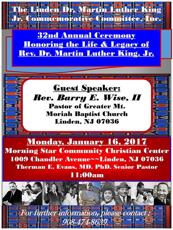 Linden 32nd Annual Martin Luther King Honoring Ceremony @ Morning Star Community Christian Center | Linden | New Jersey | United States