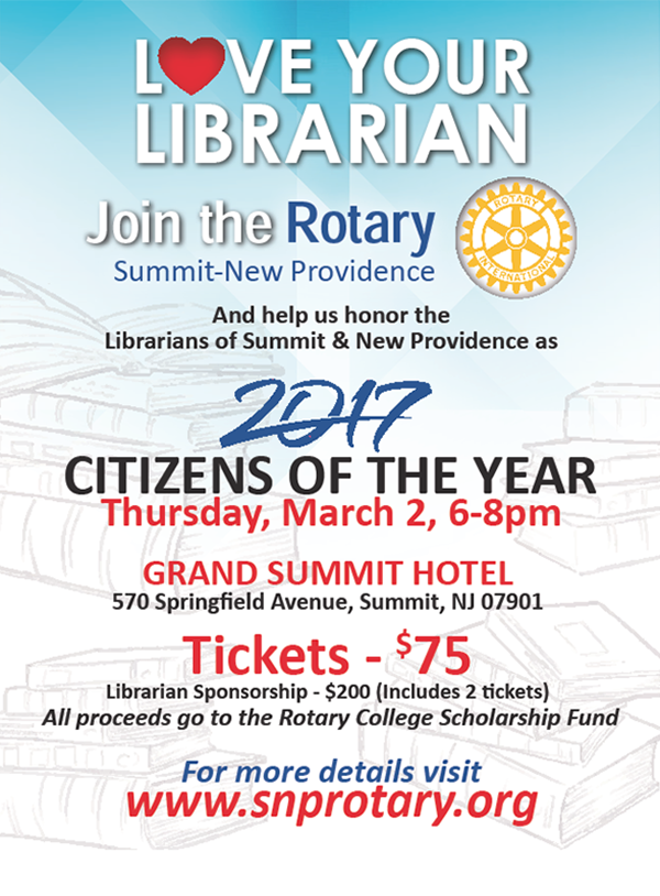 Summit - New Providence Rotary Love Your Librarian @ Grand Summit Hotel | Summit | New Jersey | United States