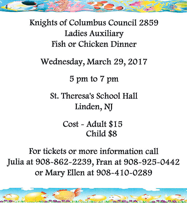 Linden Fish or Chicken Dinner @ St. Theresa's School Hall