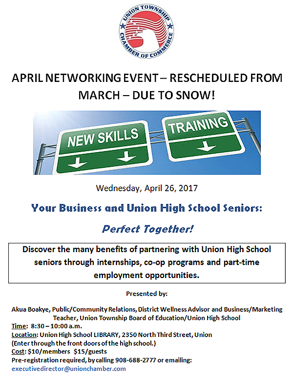 Union Chamber of Commerce April Networking Event @ Union High School Library | Union | New Jersey | United States