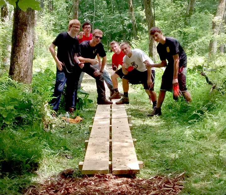 Building the bog bridge, (above l-r): Michael Maloney, Brady Pilsbury, Rob Pilsbury, Andrew Cantone, Austin Cantone, Mitchell DiPaolo