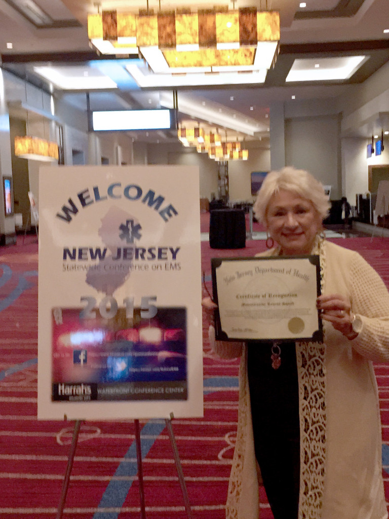 (above) Congratulations to Mountainside Volunteer Rescue Squad for being nominated for Outstanding Volunteer EMS Agency in NJ. Also, congrats to Ryan Bonk, nominated for Outstanding EMT at the 2015 EMS Awards Program in Atlantic City in mid November. Ann Marie Pires, President stands next to sign in Harrah's while holding up their certificate of recognition. Getting nominated is just as important as winning.