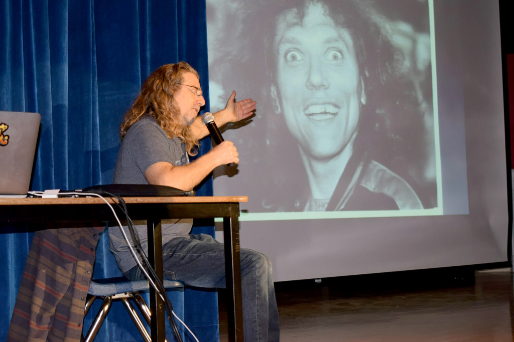 (above) Jay telling a story of Jorma Kaukonen with a coordinating picture on screen.