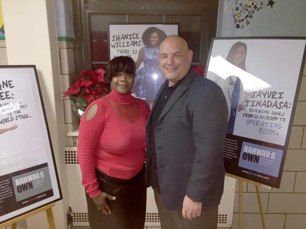 (above) Andrea Holmes, mother of Shanice Williams, with Rahway Mayor Samson Steinman.