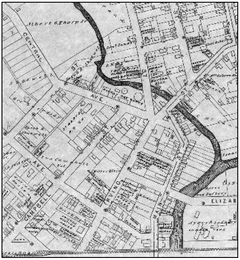 (above) Section of an 1882 map of Rahway showing names of many public buildings, churches, and factories. The school is shown near the bend of Central Avenue on Jacob R. Shortwell's property.