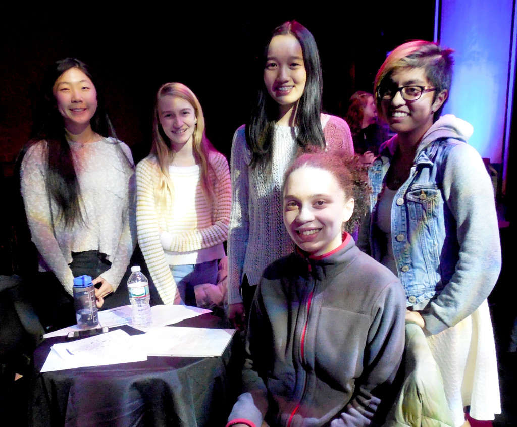 (above, l-r) Among the students who attended and/or participated in the Coffee House are Freshman Cathleen Luo of Warren Township; Freshman Megan Vetter of Warren Township; Freshman Lola Constantino of Warren Township; Freshman Caroline Xiong of Warren Township; and Sophomore Amreeta Verma of Green Brook Township.