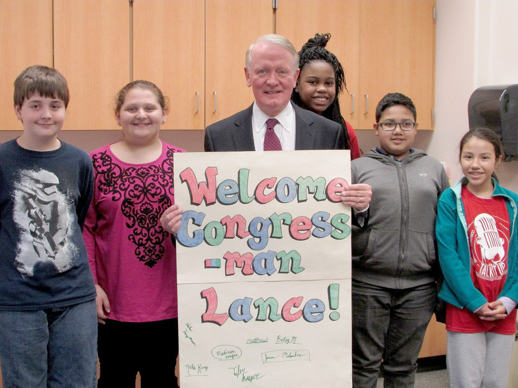(above) Congressman Leonard Lance poses with members of Somerset Intermediate School's Student Council.