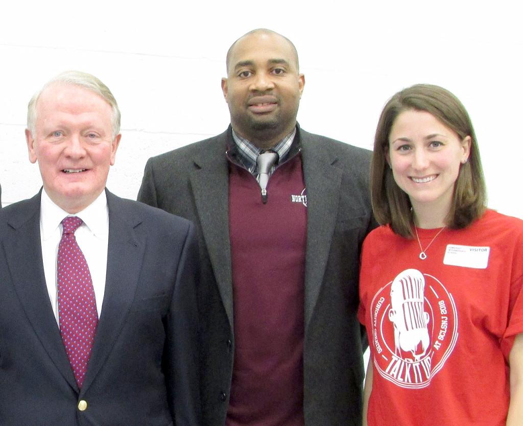 (above l-r) Congressman Lance, Somerset Intermediate School Principal Reginald Sainte- Rose, and SCLSNJ's North Plainfield Memorial Library branch Librarian Amy Behr.