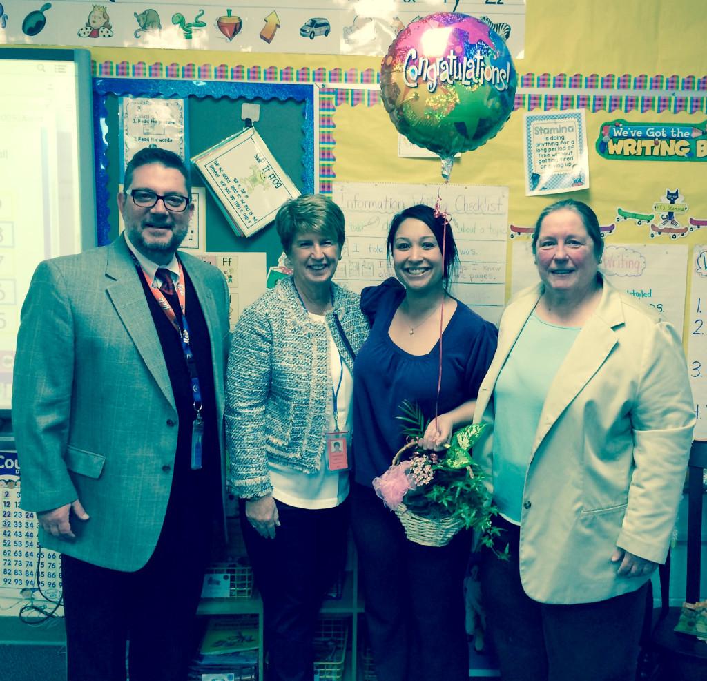 (above l-r) Assistant Principal, Mr. Michael Vignola; District Principal, Mrs. Mary Nunn; Ms. Krystle Cianci; and Superindendent of Schools, Dr. Barbara Resko.