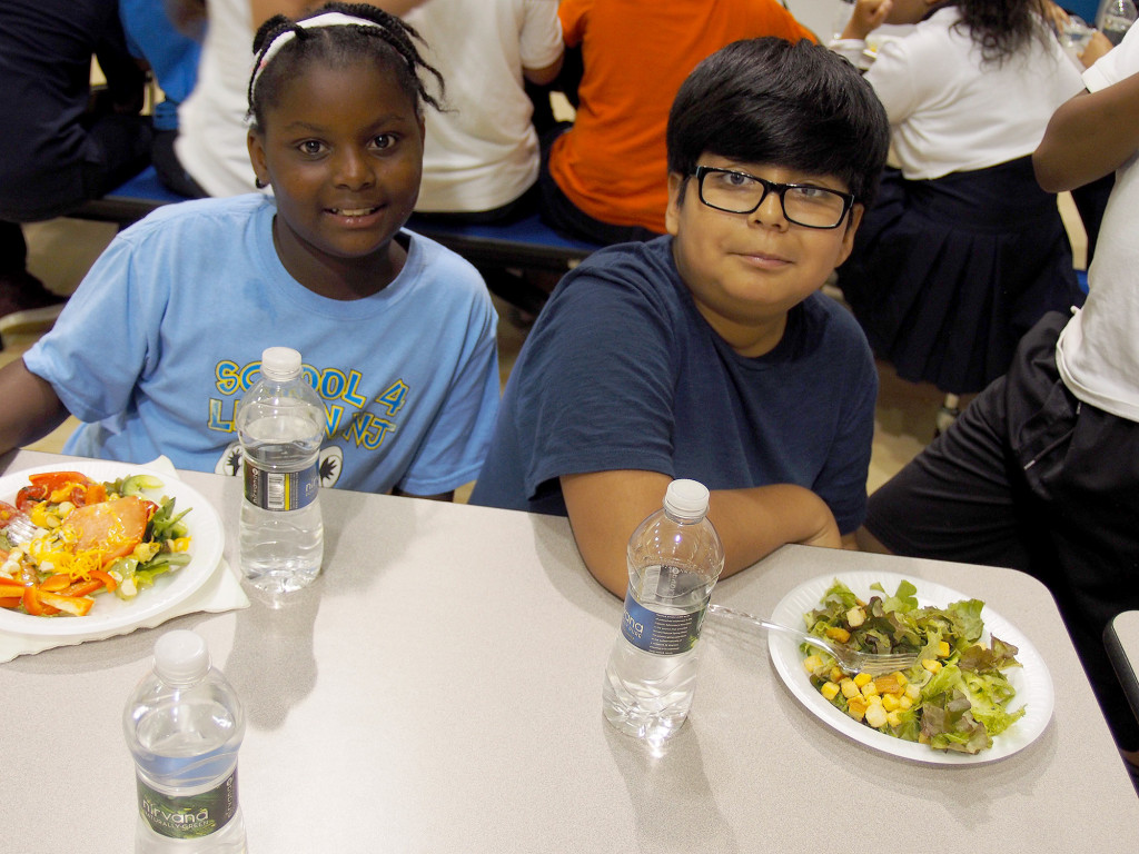 (above) Ahja Jackson, Steven Cornejo enjoyed learning about making healthy choices and eating as friends. They were impressed that they are eating what they grew in the garden.