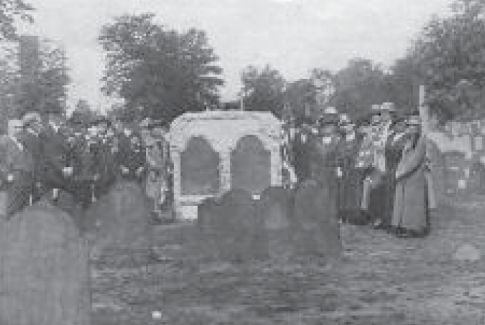 (above) An outstanding effort of the Rebecca Cornell Chapter D.A.R. was the preservation of the stones marking the graves of Abraham Clark and his wife, Sarah. The monument was unveiled on Memorial Day, May 30, 2914. Molded bronze replicas were later placed over the original stones which were deteriorating.