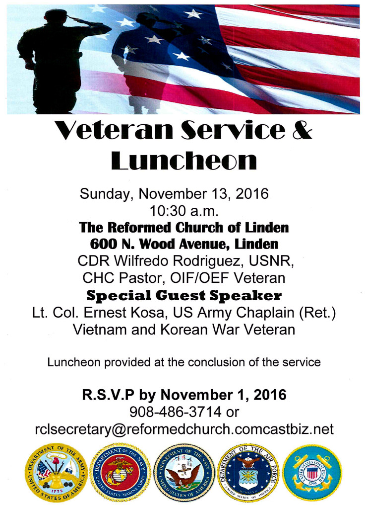 Linden Veterans Service & Luncheon @ The Reformed Church of Linden | Linden | New Jersey | United States