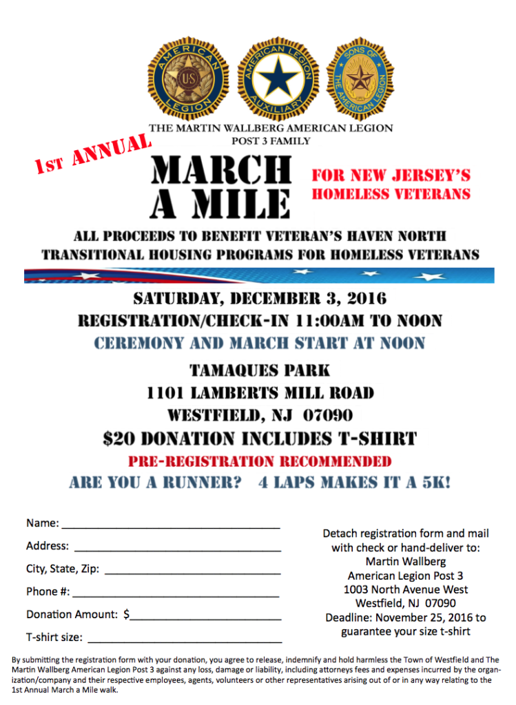 Westfield March A Mile New Jersey's Homeless Veterans Fundraiser @ Tamaques Park | Westfield | New Jersey | United States