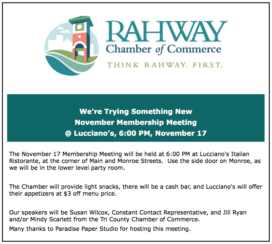 Rahway Chamber of Commerce Meeting @ Lucciano's Italian Ristorante