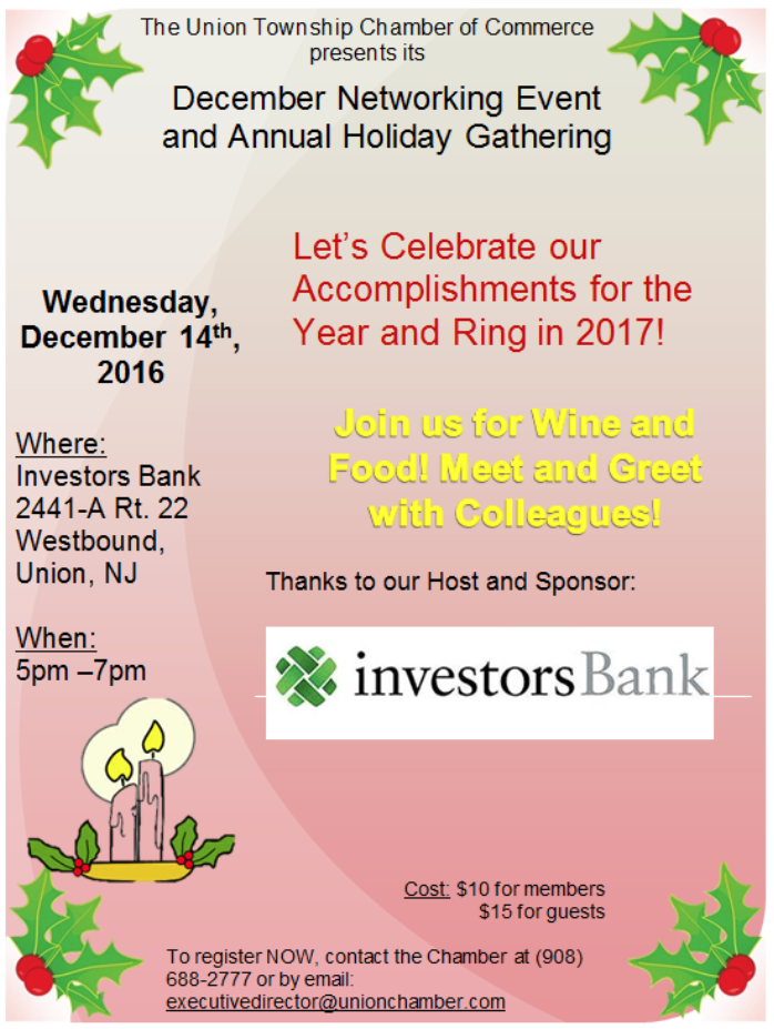 Union COC Networking Event & Holiday Gathering @ Investors Bank 2441-A Rt 22 Westbound, Union NJ | Union | New Jersey | United States