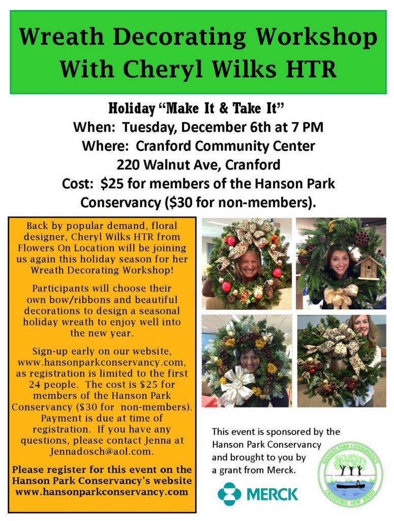 Cranford Wreath Decorating Workshop @ Cranford Community Center | Cranford | New Jersey | United States